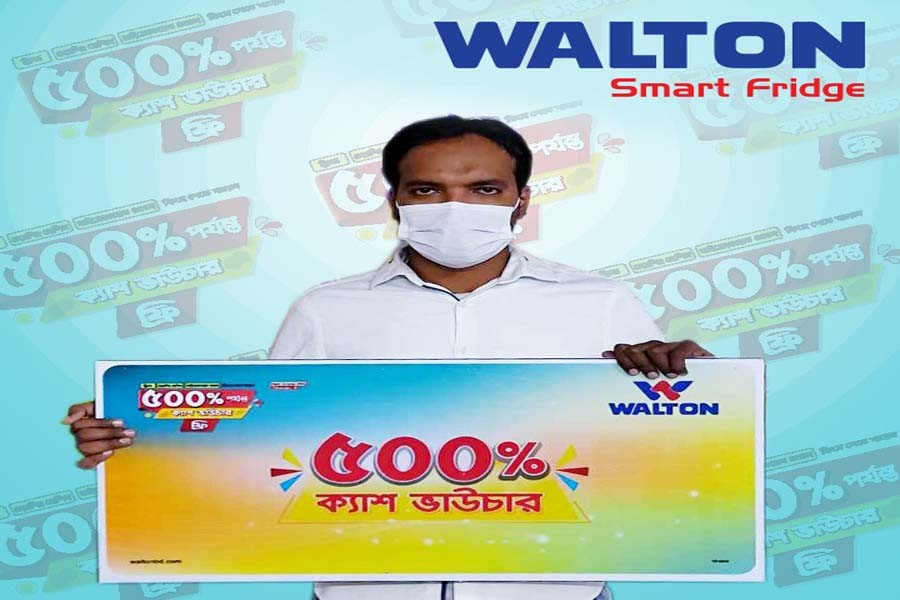 Businessman gets 500pc cash voucher buying Walton refrigerator