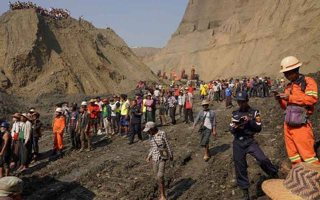 At least 50 dead in landslide at Myanmar jade mine