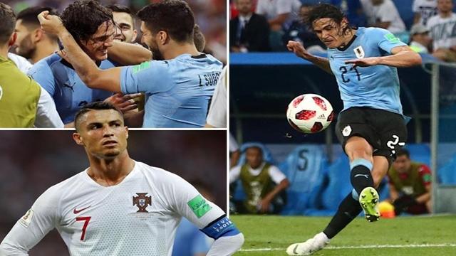 Cavani's superb double takes Uruguay into quarters