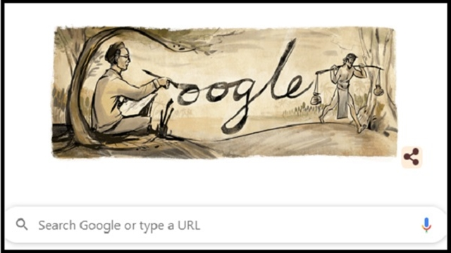 Google Doodle celebrating Zainul Abedin's 105th birthday