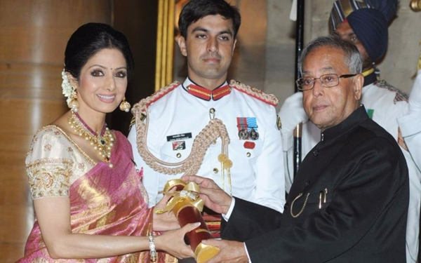 Veteran actress Sridevi received the Padma Shri award from President Pranab Mukherjee in 2013