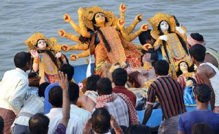 Durga Puja ends with immersion of the goddess idol