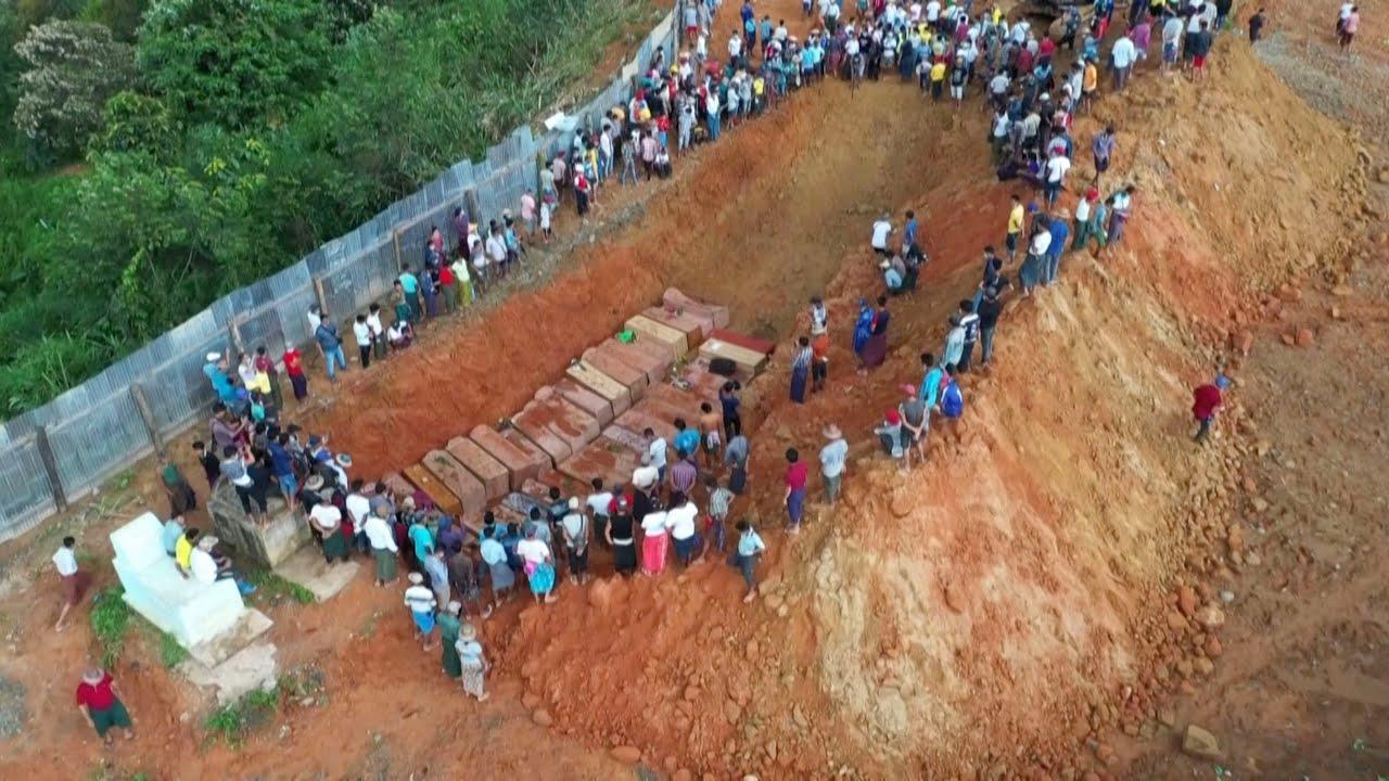 Myanmar digs mass grave after deadly mine landslide