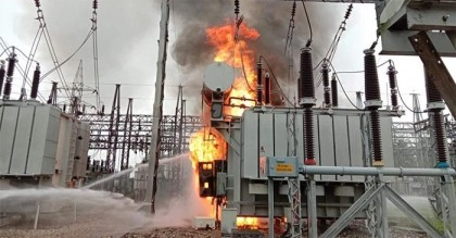 Power outage in Mymensingh division as national grid substation catches fire again